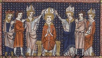 The Ordination of Saint Hilary. From a 14th century manuscript.